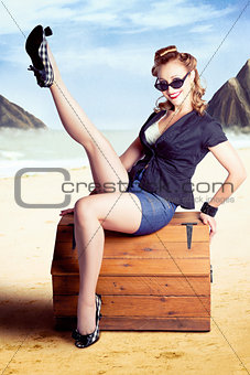 Fine Art Fifties Poster Girl On Travel Luggage