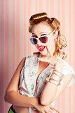 Glamorous Retro Blonde Girl Thinking Fashion Ideas