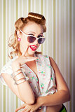 Cute Pinup Fashion Girl With Surprised Expression