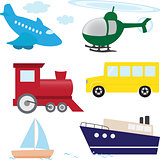 Vector set of cartoon transport