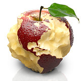 Apple with carved continents. North and South America