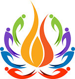 colourful human flame logo