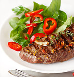 Grilled beef steak.