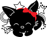 Sleepping Cat silhouette with bow