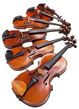 different sized violins close up