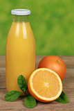 Fresh orange juice in a bottle