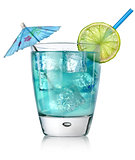 Blue cocktail in a glass
