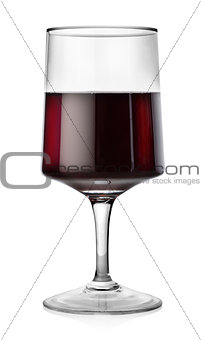 Rectangular glass of red wine