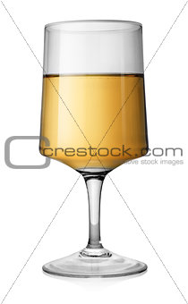 Rectangular glass of white wine