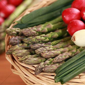 Fresh asparagus in a basket