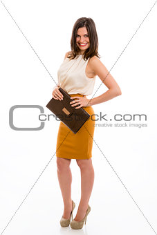 Business woman with brown purse