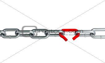 Broken chain link