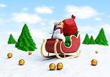 santa sleigh and Santa&#39;s Sack with Gifts snowman fir tree
