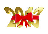 new year text red bow