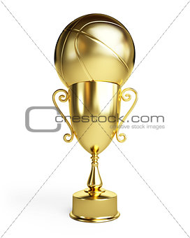 gold basketball ball cup
