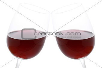 Clink glasses with red wine