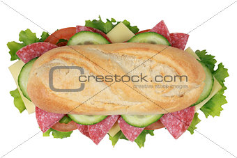Top view of a sandwich with pepperoni