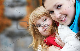 Beautiful Girl and Mom Portrait
