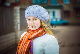 The girl in a white beret