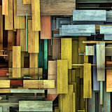 abstract 3d render fragmented colored wood timber plank backdrop