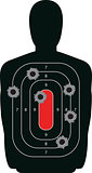 Silhouette Shooting Range Gun Target with Bullet Holes