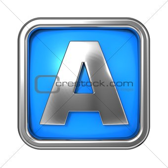 Silver Letter in Frame, on Blue Background.