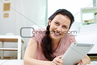 Female with touchpad