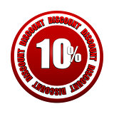 10 percentages discount 3d red circle label