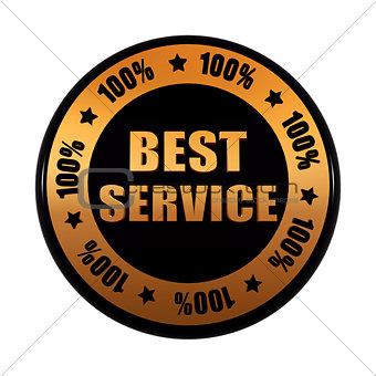 best service 100 percentages in golden black circle label