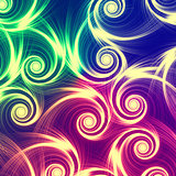beige spirals in green, blue and violet background