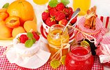 Strawberries,peaches and honey.