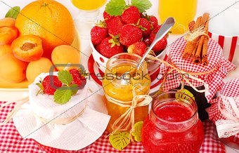 Strawberries,peaches and honey.