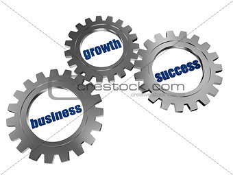 business, growth and success in silver grey gearwheels