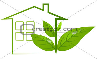 Green eco house with leafs and water drop