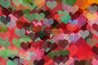 colorful hearts abstract illustration