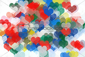 painted hearts abstract illustration