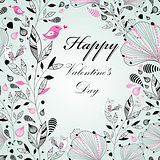 floral background with birds to the Valentine's day