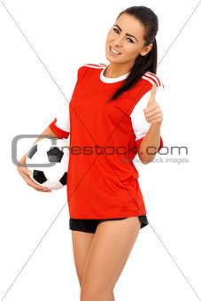 Beautiful female soccer player