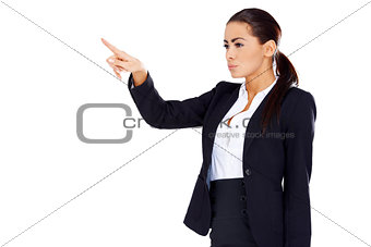 Business woman pointing at empty space