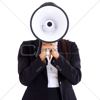 Woman holding big megaphone in front of her face