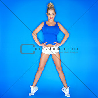 Young Blonde Woman Standing On Toe Wearing Shoes