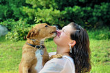 Young adult woman getting licked by her dog