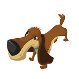 Vector image of color funny cartoon dog