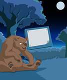 Vector image of wood background with plate and bear at night