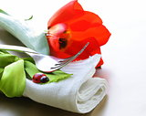 linen napkins for spring (Easter) table setting