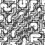 Monochrome seamless abstract pattern in hi-tech style.