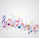 Music background with butterflies