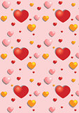 Gentle hearts on the pink seamless background
