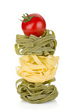 Fettuccine nest pasta with tomato cherry