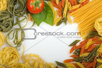 Overhead Italian pasta background